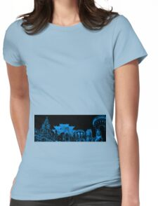 Liverpool Landmarks Montage Blue and Black Womens Fitted T-Shirt