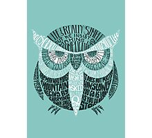 Wise Old Owl Says (in Green) Photographic Print