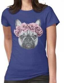 French bulldog with rose crown Womens Fitted T-Shirt