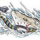 Tiger snake V Grey Nurse Shark by SnakeArtist