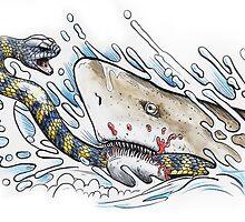 Tiger snake V Grey Nurse Shark by SnakeArtist
