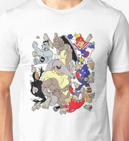 Down-Underian, Major Patriot, British Bulldog, All-Black, General Silverfern VS Echidnor! Unisex T-Shirt