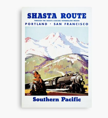 Shasta Route Vintage Travel Poster Restored Canvas Print