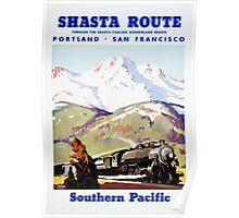 Shasta Route Vintage Travel Poster Restored Poster