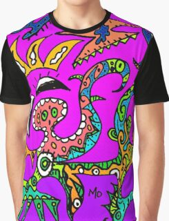 Abstract Funky Purple Play Graphic T-Shirt