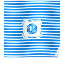 Striped Letter P Poster