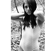 White Ribbed Swimsuit Photographic Print