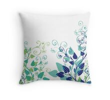 Floral Spring Blue Throw Pillow
