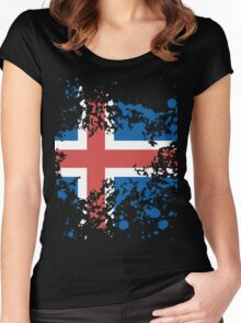 Iceland Flag Ink Splatter Women's Fitted Scoop T-Shirt