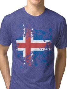 Iceland Flag Ink Splatter Tri-blend T-Shirt