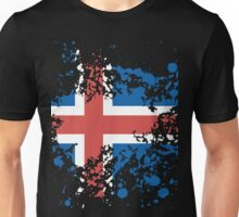 Iceland Flag Ink Splatter Unisex T-Shirt