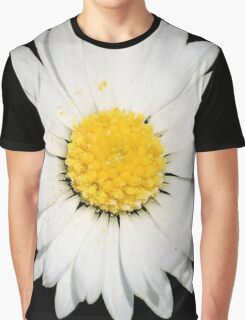 Top View of a White Daisy Isolated on Black Graphic T-Shirt