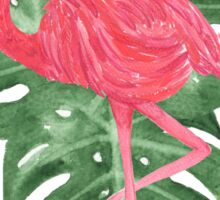 Watercolor Tropical Leaves Pink Flamingo Sticker