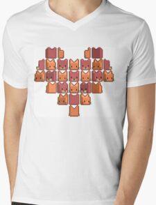 Cat Heart Mens V-Neck T-Shirt
