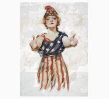 Americana, America, Columbia, American Recruitment, USA, World War 1 One Piece - Short Sleeve