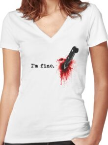 I'm fine Women's Fitted V-Neck T-Shirt