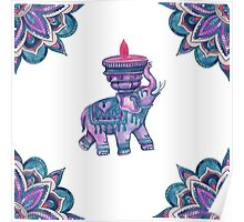 Elephant Watercolor Mandala Cool Purple Poster