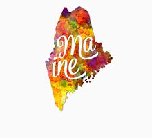 Maine US State in watercolor text cut out T-Shirt