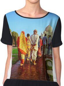Indian Tourist at Taj Mahal Chiffon Top