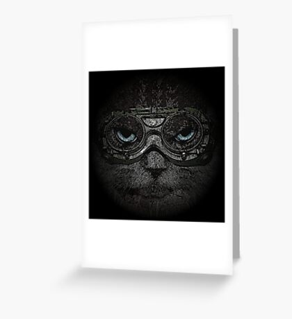 Sulky Steampunk Cat with Goggles and Attitude Greeting Card