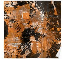 Rusting Darkness - Abstract in gold, black and white Poster