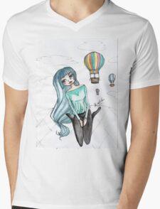 Girls and balloons - Manga Mens V-Neck T-Shirt