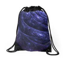 Indigo Blue Galaxy Web Fractal Drawstring Bag