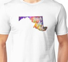 Maryland US State in watercolor text cut out Unisex T-Shirt