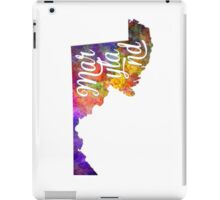 Maryland US State in watercolor text cut out iPad Case/Skin