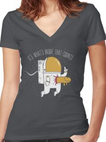 Space Sucks Women's Fitted V-Neck T-Shirt