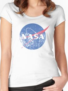 Distressed Nasa Logo Women's Fitted Scoop T-Shirt