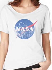 Distressed Nasa Logo Women's Relaxed Fit T-Shirt
