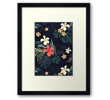 Dark tropical flowers Framed Print
