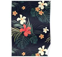 Dark tropical flowers Poster