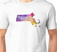 Massachusetts US State in watercolor text cut out Unisex T-Shirt