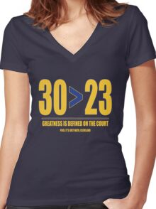 30 > 23 | Curry > James Women's Fitted V-Neck T-Shirt