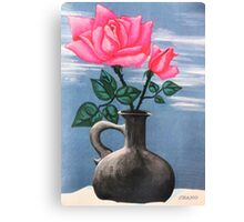 PINK ROSE IN GRAY VASE ON SNOW Canvas Print