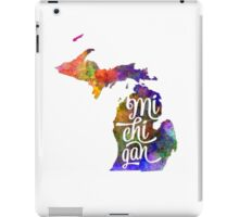 Michigan US State in watercolor text cut out iPad Case/Skin