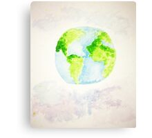 Wonderful Planet Earth WaterColor Canvas Print