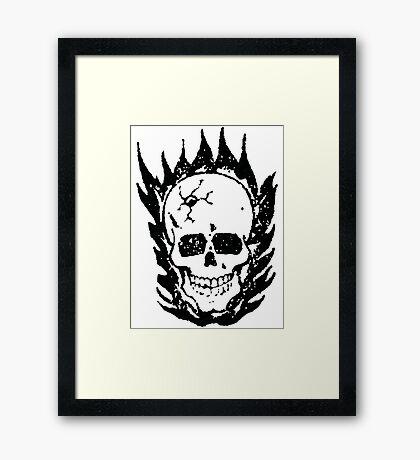 Cracked and Blazing Skull Framed Print