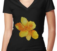 Watercolor painted daffodil Women's Fitted V-Neck T-Shirt