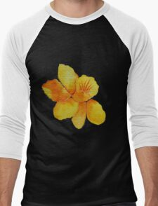 Watercolor painted daffodil Men's Baseball ¾ T-Shirt