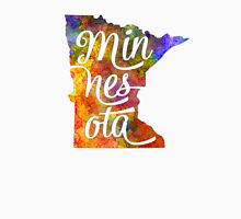 Minnesota US State in watercolor text cut out T-Shirt