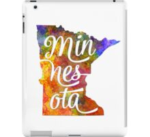 Minnesota US State in watercolor text cut out iPad Case/Skin