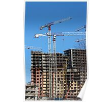 tower cranes on construction site Poster