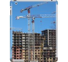 tower cranes on construction site iPad Case/Skin