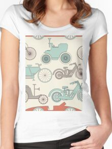 Seamless pattern with vintage cars and bikes Women's Fitted Scoop T-Shirt