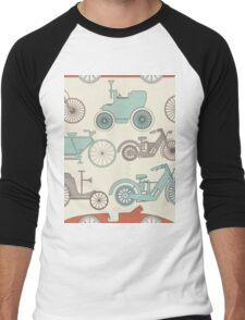 Seamless pattern with vintage cars and bikes Men's Baseball ¾ T-Shirt