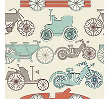 Seamless pattern with vintage cars and bikes Photographic Print