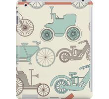 Seamless pattern with vintage cars and bikes iPad Case/Skin